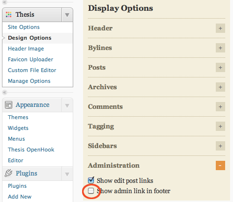 thesis options plugin