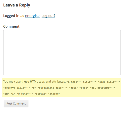 3cc16fc7444d Remove HTML from comments in WordPress