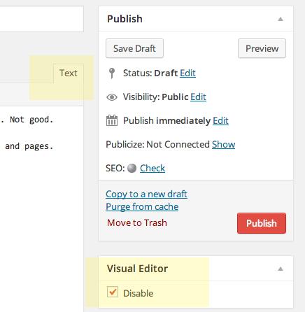 disbale-visual-editor-wordpress