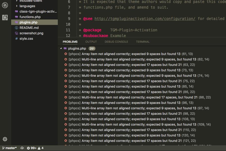 phpcs-codesniffer-visual-studio-code