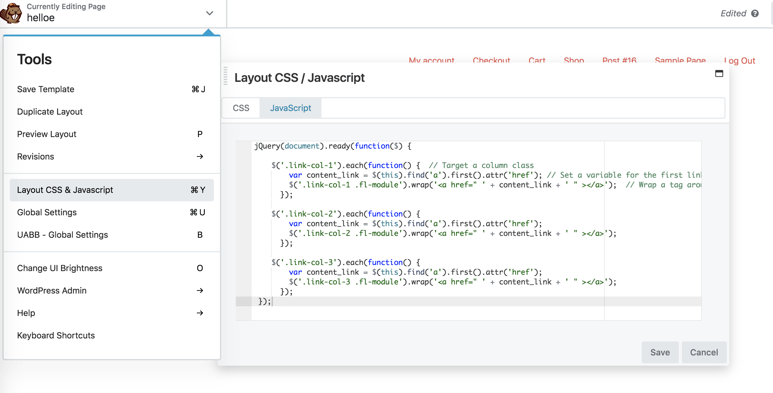 Add Javascript In Beaver Builder
