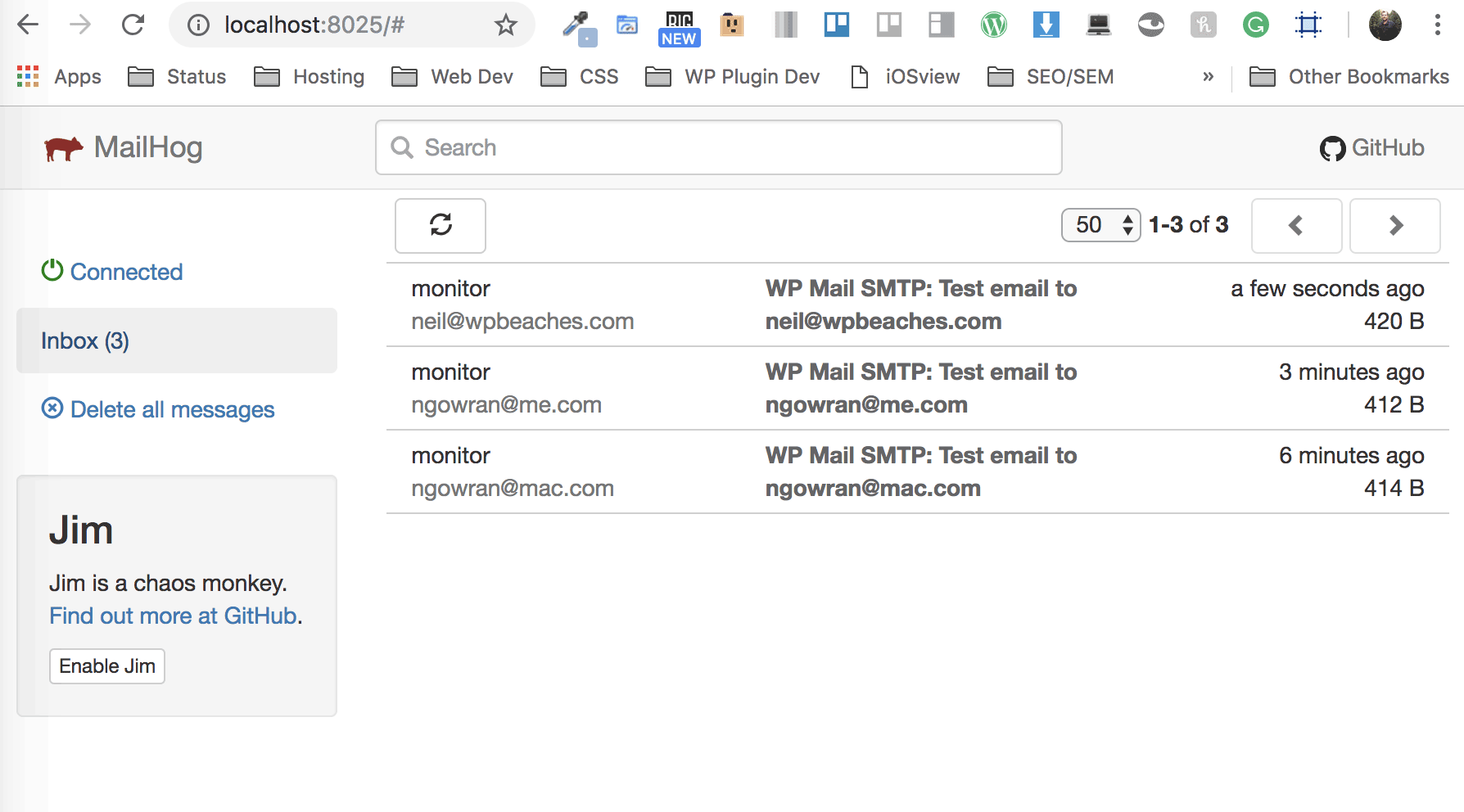 Mailhog Valet WordPress Local Smtp