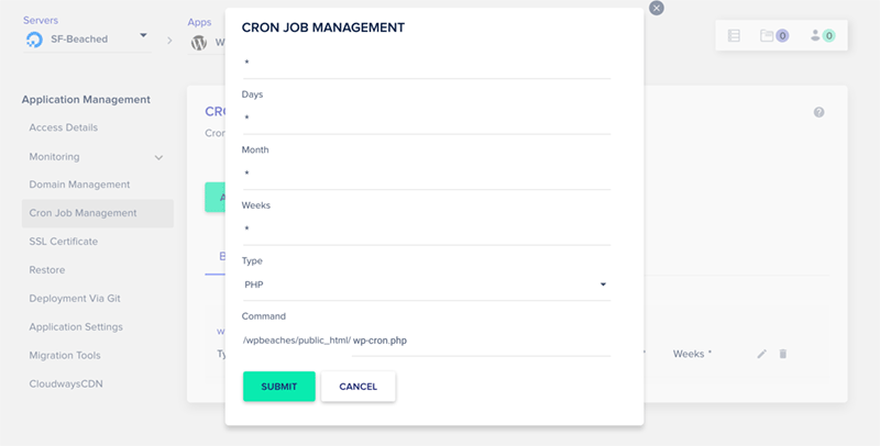 Cloudways Add Cron Schedule