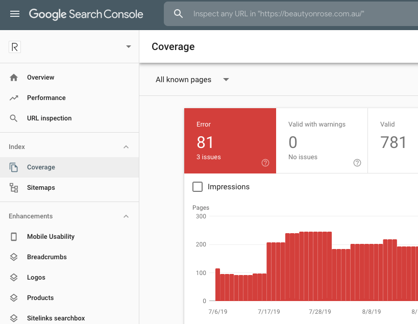 Google Search Console Coverage Errors
