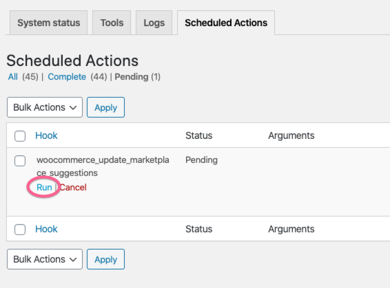 Woocommerce Scheduled Actions Pending Run