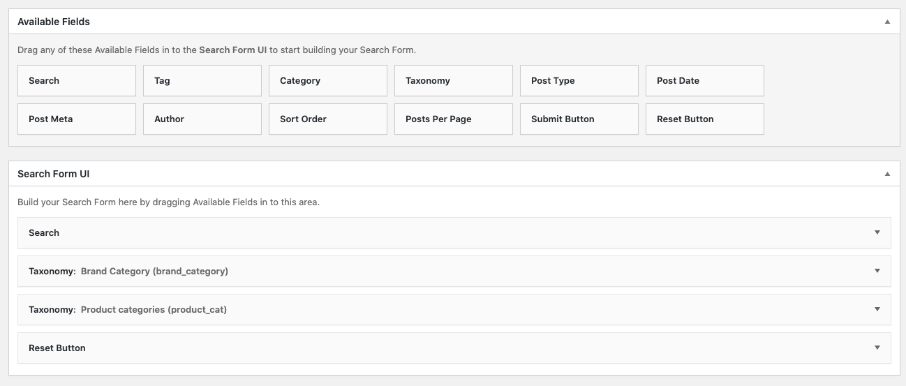 Search Filer Pro Available Fields
