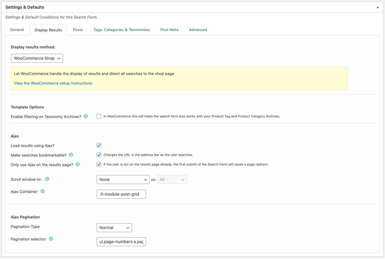 Search Filer Pro Default Settings