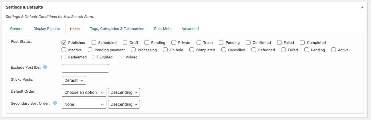 Search Filer Pro Post Settings