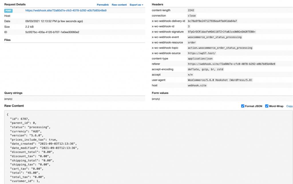 Webhook Full Order Data Returned